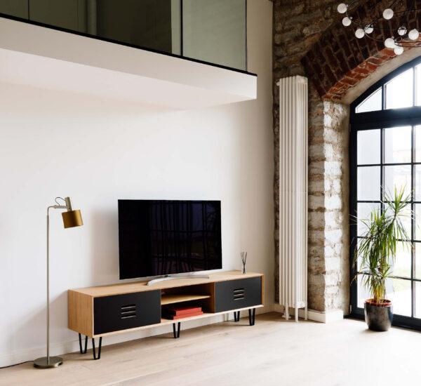 TV-STAND NOBLE 200CM OAK VENEERED DOORS BLACK CPL