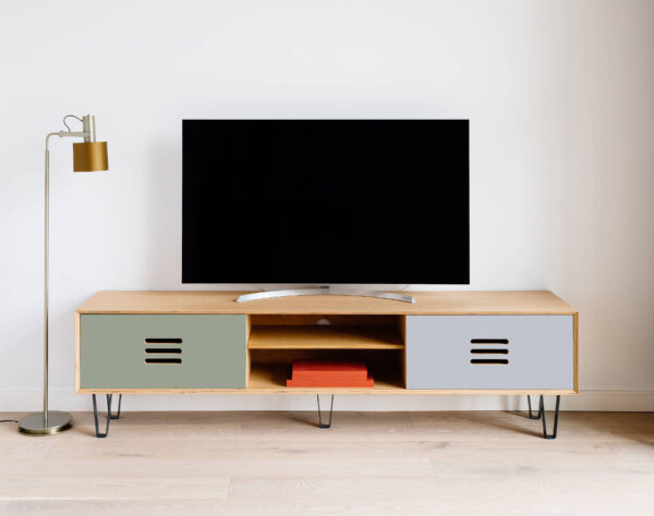 TV-STAND BOXY FORBO OLIVE AND LIGHT GREY CPL DOORS