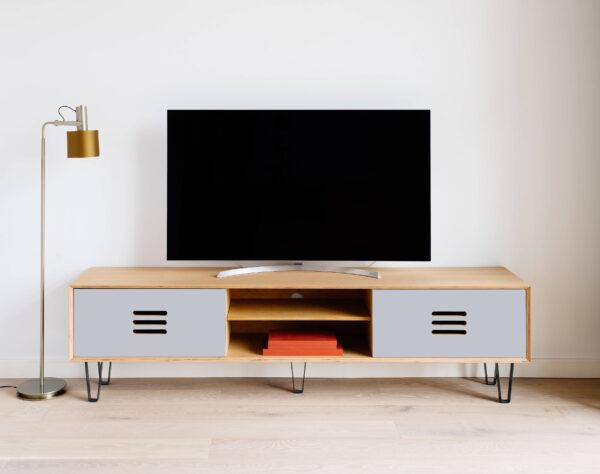 TV-STAND BOXY LIGHT GREY CPL DOORS