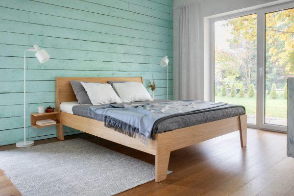 BED HUH OAK VENEERED WITH NIGHT TABLES