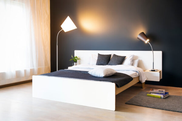 BED WITH NIGHTSTANDS WHITE CPL