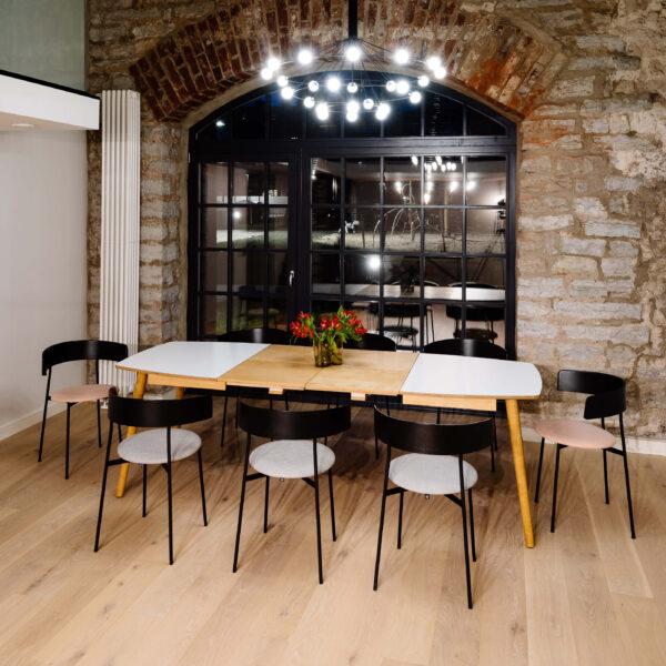 EXTENDABLE DINNER TABLE NAMNAM 96X144/244CM WHITE HPL LIGTH OAK EXTENSIONS