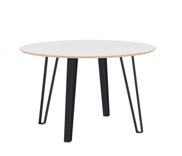 ROUND DINING TABLE VISTA 125 CM WHITE HPL